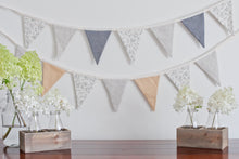 Load image into Gallery viewer, Linen Bunting - Golden Tan, Navy, Leaf