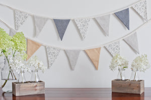 Linen Bunting - At Peace, Country Linen, Navy