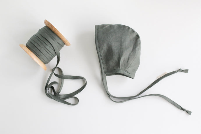 Linen Bonnet - warm flannel lining -  in sage