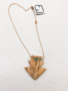 Spalted maple and turquoise necklace