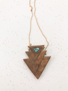 Walnut and turquoise tri triangle necklace