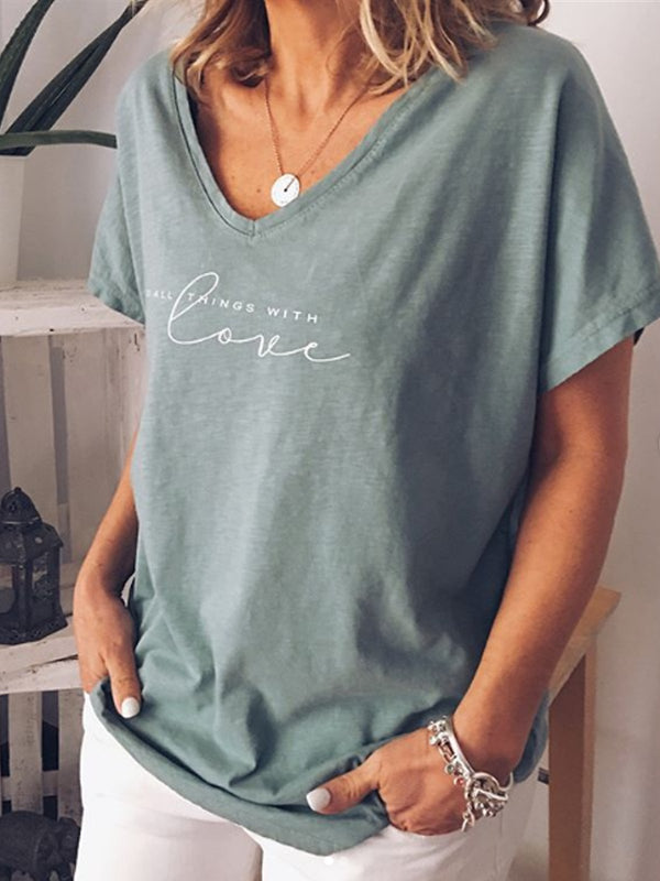 Gray Blue Short Sleeve Letter Casual Shirts & Tops