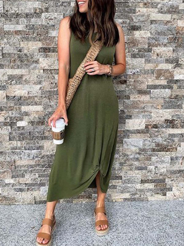 Green Cotton Casual Plain Sleeveless Dresses