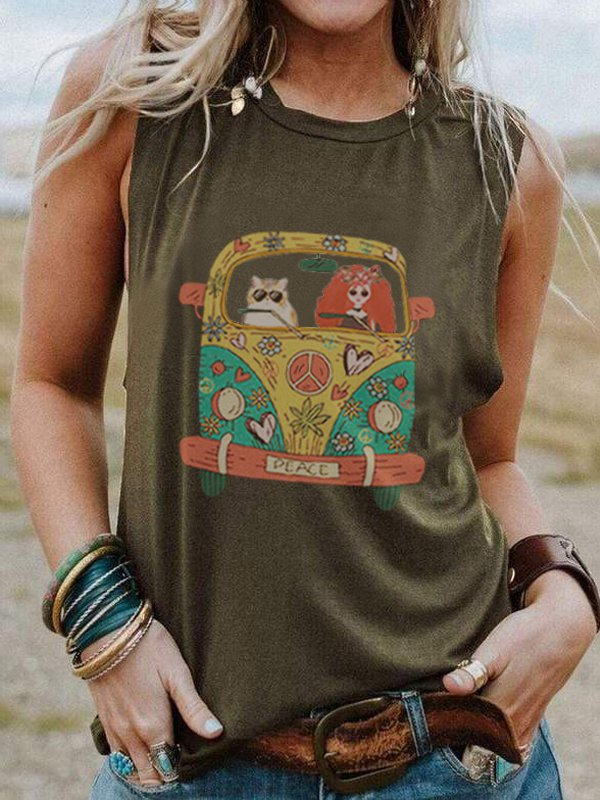 Round Neck Sleeveless Cartoon Car Print Casual Top