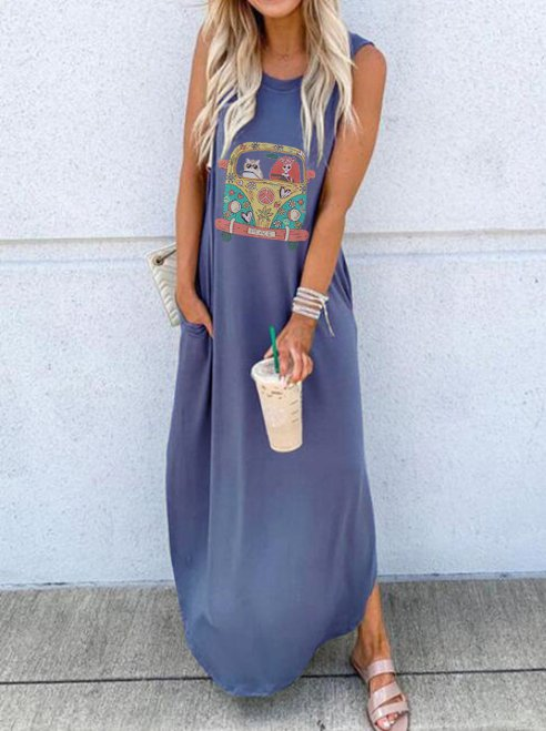 Sleeveless Cartoon Car Print Pockets Maxi Dress