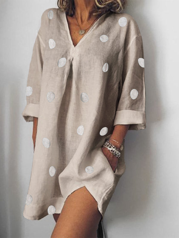 Shift Long Sleeve V Neck Dress