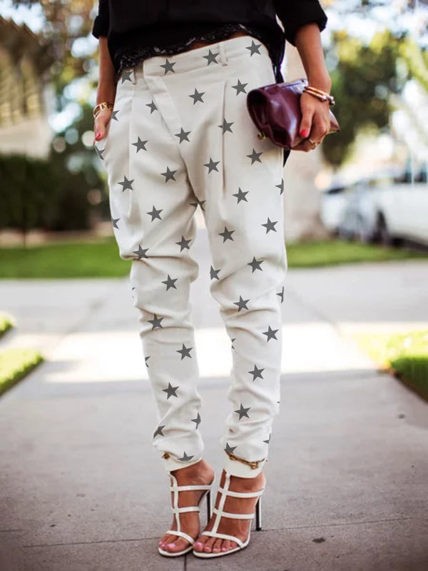 Plus Size Women Vintage Star Casual Pants