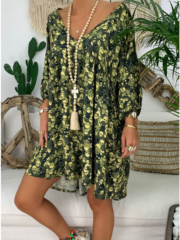 Casual V Neck Long Sleeve Printed Dresses