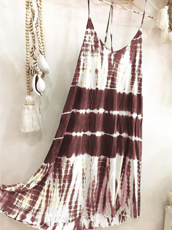 Tie-Dyed Spaghetti-Strap Casual Dresses