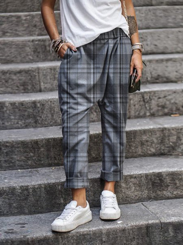 Gingham Casual Women Pants