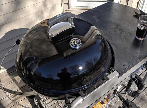 Midwest Hearth Meter Installed on Top of the OEM Bezel of a Weber Performer Grill