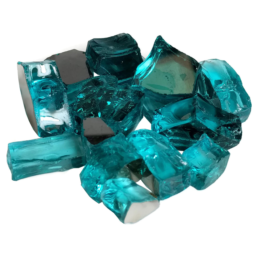 Tropical Blue Reflective Fire Pit Glass 1/2-Inch (10-Pounds)