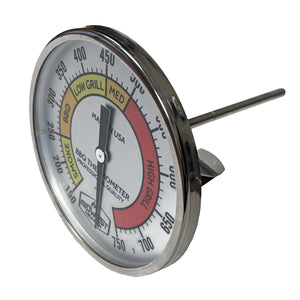 "Thermometer for Kamado Style Charcoal Grills - 3"" Dial"