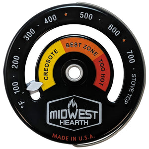 Wood Stove Thermometer - Magnetic Stove Top Meter