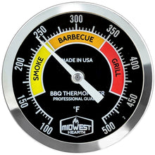 "Load image into Gallery viewer, BBQ Smoker Thermometer - 3"" Black Dial"