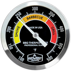 "BBQ Smoker Thermometer - 3"" Black Dial"