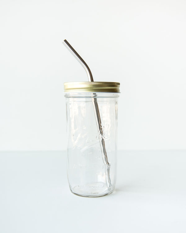 Mason Jar Metal Lid with Straw Opening