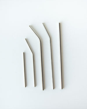 Stainless Steel Straws — Brushed Metal