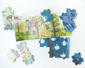 Recycled Cardboard Reversible Puzzle by Londji — Night & Day in the Forest