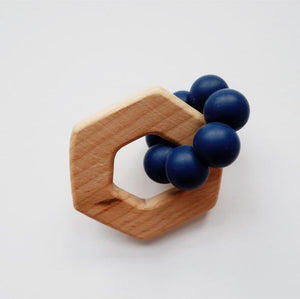 Silicone + Wood Hexagon Teether