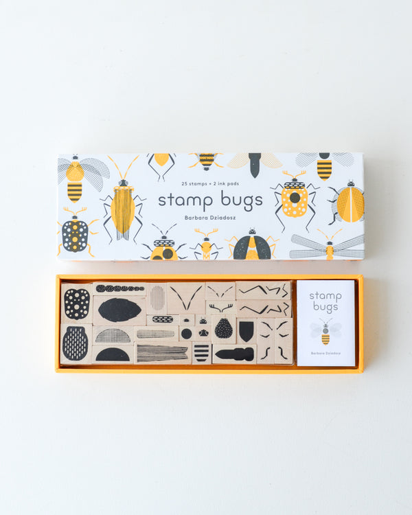 Stamp Bugs — 25 Wood Stamps + Ink Pads