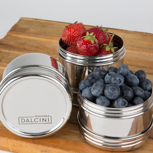 Dalcini Stainless Steel Lunch Containers—Twist Top Trio