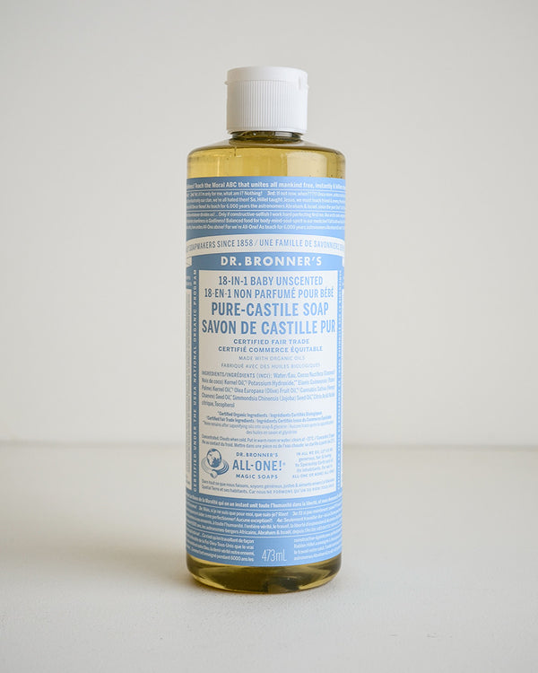 Dr. Bronner's Baby/Unscented Castile Soap — 473ml