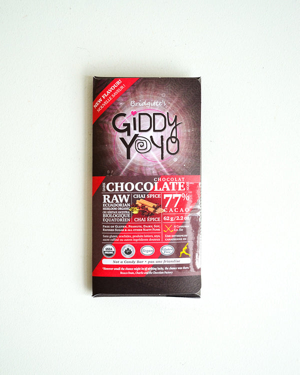 Giddy Yoyo Chai Spice 77% Dark Chocolate Bar