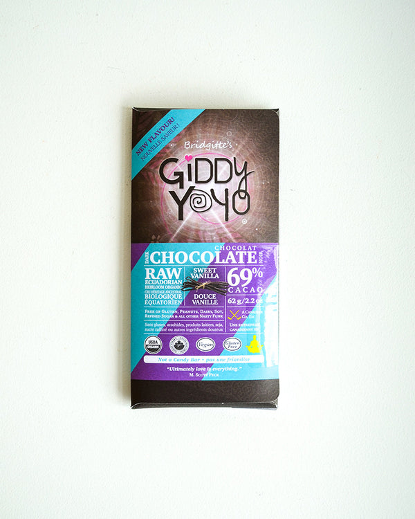 Giddy Yoyo Sweet Vanilla 69% Dark Chocolate Bar