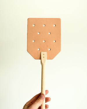 Leather and Wood Fly Swatter
