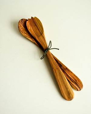 Redecker Olivewood Salad Tongs - Short