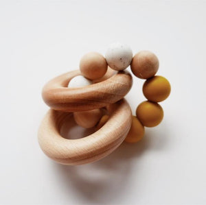 Silicone + Wood Rattle Teether