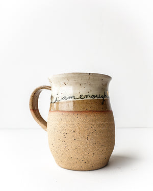 "mug ""I am enough"" gold — Love Pottery"