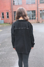 Load image into Gallery viewer, Black Studded Denim Jacket