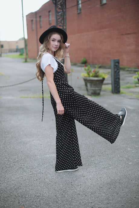 Polka Dot Suspender Pants
