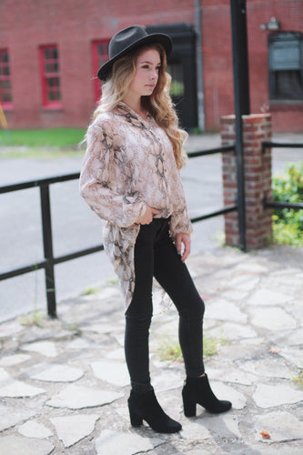 Snake Print Half Button Up