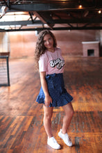 Load image into Gallery viewer, Star Printed Denim Ruffle Skirt