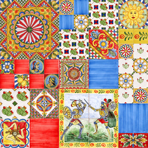 Patchwork con piastrelle siciliane stile carretto decorate a mano Made in Italy