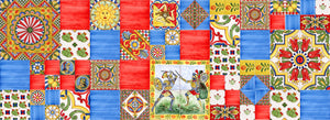 Patchwork siciliano stile carretto piastrelle decorato a mano Made in Italy