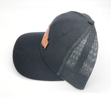Load image into Gallery viewer, Snap Back Black Leather Yentna Logo Hat