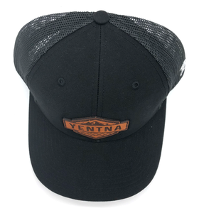 Snap Back Black Leather Yentna Logo Hat