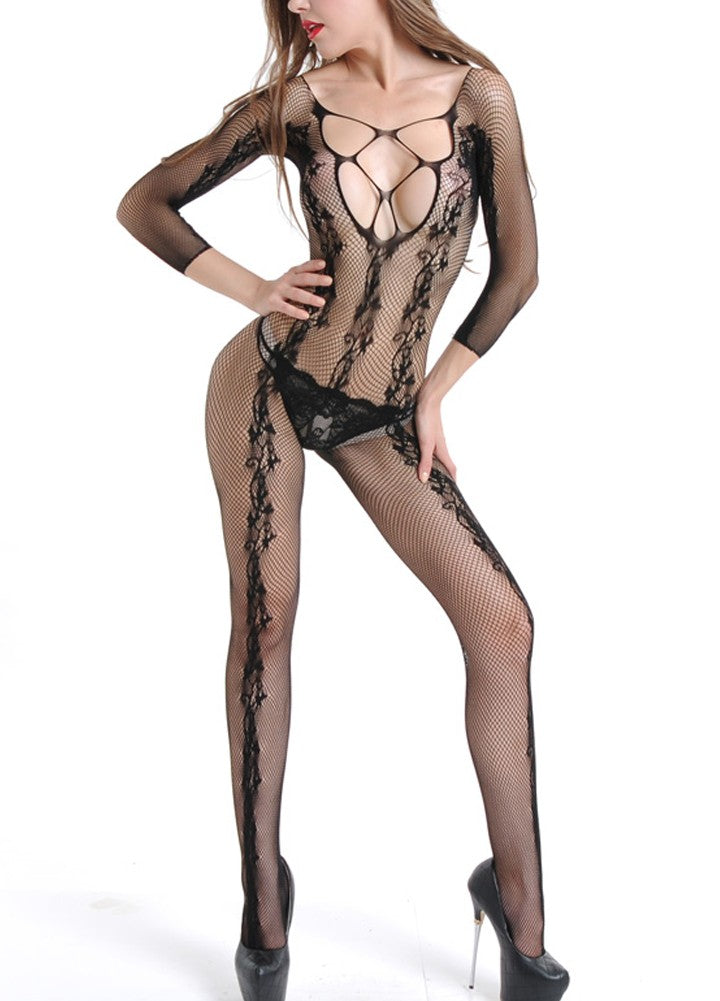eba0f5a56 Sexy Women Lingerie Fishnet Jumpsuit Sheer Bodysuit Cut Out Backless Stretch  Slim Nightwear Black