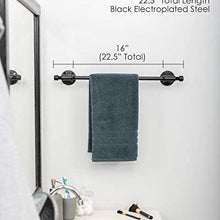 Industrial Pipe Towel Bar Fixture Set by Pipe Decor Wall Mounted DIY Style, Heavy Duty Rustic Iron, Black Electroplated Rust Free Finish With Mounting Hardware For Kitchen Or Bath Hanging, 18 Inches