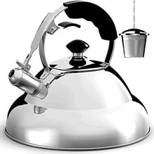 Tea Kettle Stovetop Whistling Tea Pot - 2.75 Quart, Stainless Steel, Tea Maker Infuser Included, Single Handle Teapot