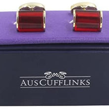 AUSCUFFLINKS 40th Anniversary Ruby Wedding Gift Husband | Cufflinks Gold Edge Red Cuff Links