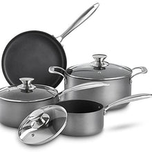 VonShef Premium Hard Anodized Aluminum Nonstick Cookware Pots and Pans Set, 2 Saucepans With Lids, 1 Dutch Oven Casserole Pot with Lid and 1 Frying Pan, 7-Piece Pack, Gray
