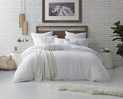 Swift Home Microfiber Washed Crinkle Duvet Cover & Sham (1 Duvet Cover with Zipper Closure & 1 Pillow Sham), Premium Hotel Qaulity Bed Set, Ultra-Soft & Hypoallergenic – Twin/Twin XL