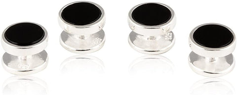 Cuff-Daddy Mens Solid 925 Sterling Silver Black Onyx Shirt Stud Set