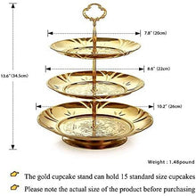 Two Set of Three Tier Cake Stand and Fruit Plate by Imillet -Stainless Steel Stand of Golden for Cakes Desserts Fruits Candy Buffet Stand for Wedding &Home&Party Serving Platter (2 pack) …