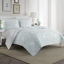 Laura Ashley Home Mia Collection Luxury Premium Ultra Quilt Coverlet, Comfortable 3 Piece Bedding Set, All Season Stylish Bedspread, King, Soft Blue